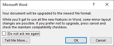Word-Dialogbox: Upgrade to newest file format