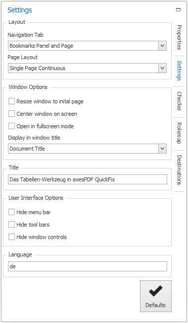 Task pane: Settings