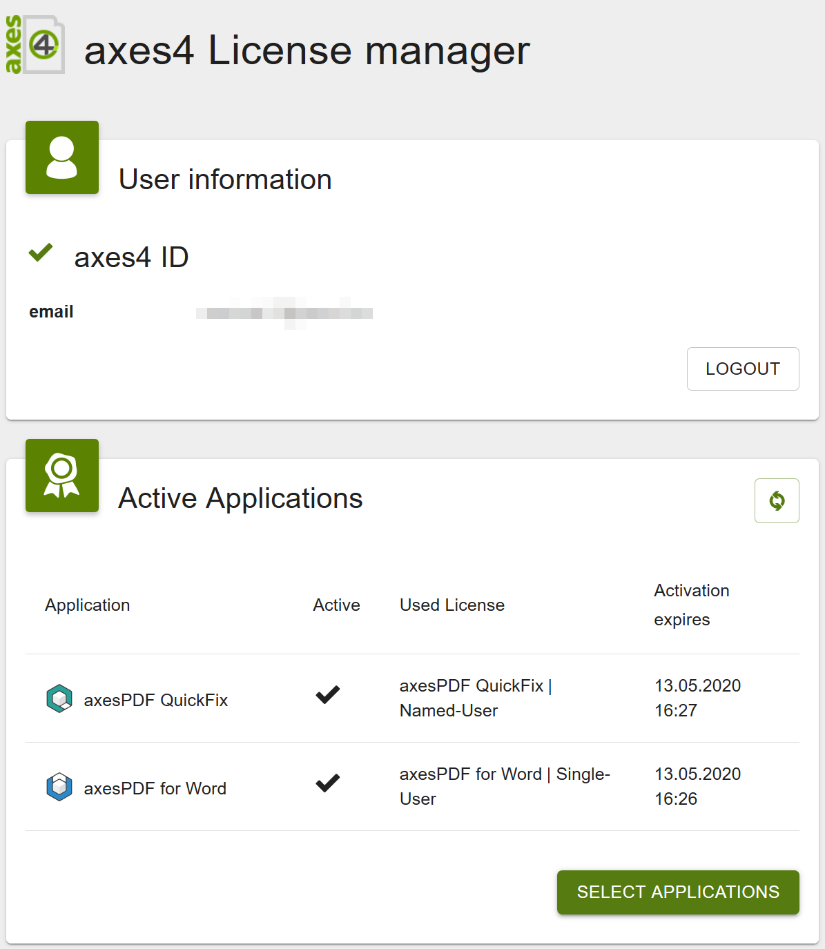 Screenshot of License Manager: Card Active Applications with activation date