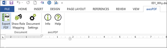 Ribbon tab axesPDF with button Create PDF